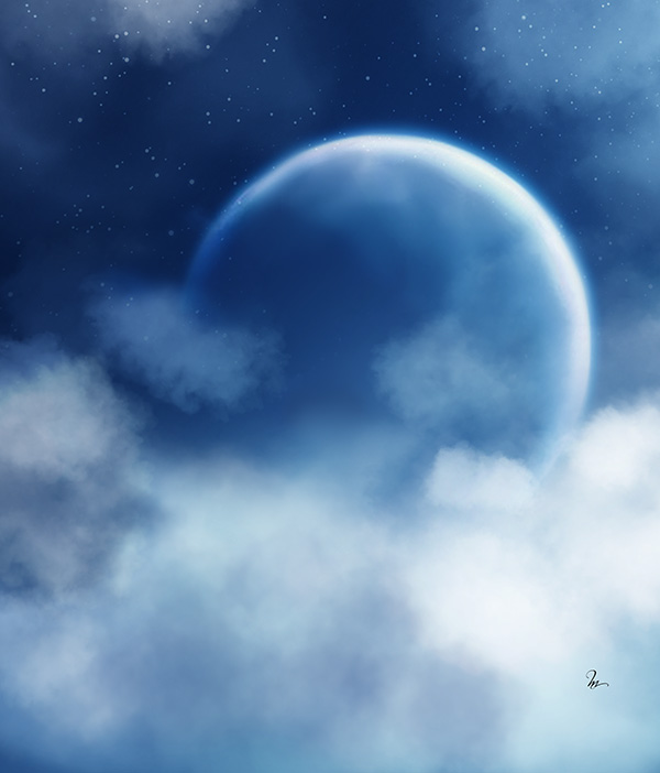 peindre une lune dans un ciel toil trouvez le tutoriel photoshop cs4 cs5 flash illustrator. Black Bedroom Furniture Sets. Home Design Ideas